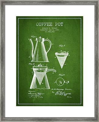 1907 Coffee Pot Patent - Green Framed Print by Aged Pixel