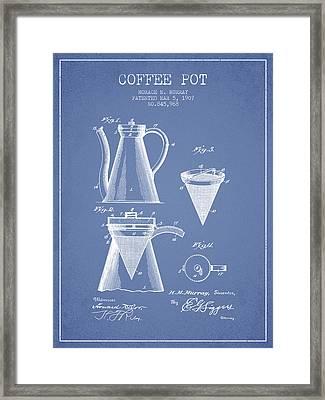 1907 Coffee Pot Patent - Light Blue Framed Print by Aged Pixel
