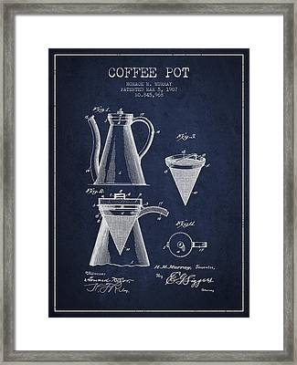 1907 Coffee Pot Patent - Navy Blue Framed Print by Aged Pixel