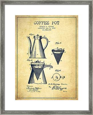 1907 Coffee Pot Patent - Vintage Framed Print by Aged Pixel