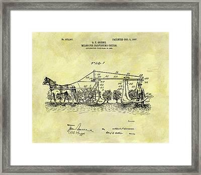 1907 Cotton Harvester Patent Framed Print
