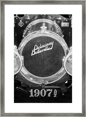 1907 Delaunay-belleville Phaeton Grille Emblem -0134bw Framed Print by Jill Reger