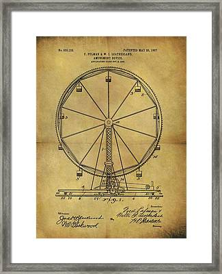 1907 Ferris Wheel Patent Framed Print by Dan Sproul
