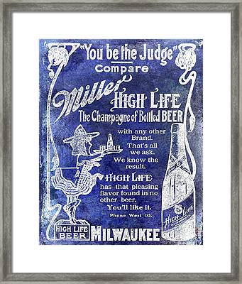 1907 Miller Beer Advertisement Blue Framed Print by Jon Neidert