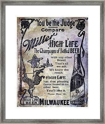 1907 Miller Beer Advertisement Framed Print