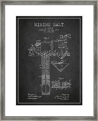1907 Mining Salt Patent En36_cg Framed Print