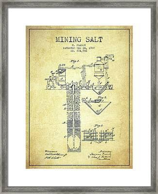1907 Mining Salt Patent En36_vn Framed Print