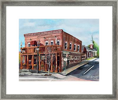 Framed Print featuring the painting 1907 Restaurant And Bar - Ellijay, Ga - Historical Building by Jan Dappen