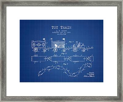1907 Toy Train Patent - Blueprint Framed Print by Aged Pixel