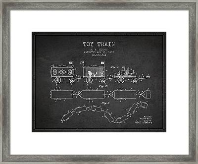 1907 Toy Train Patent - Charcoal Framed Print by Aged Pixel