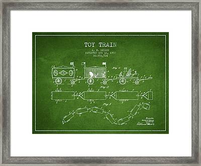 1907 Toy Train Patent - Green Framed Print by Aged Pixel