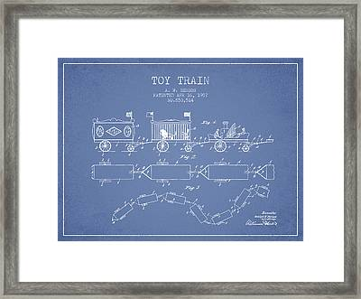 1907 Toy Train Patent - Light Blue Framed Print by Aged Pixel
