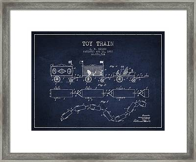 1907 Toy Train Patent - Navy Blue Framed Print by Aged Pixel