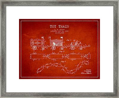 1907 Toy Train Patent - Red Framed Print by Aged Pixel