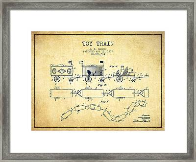 1907 Toy Train Patent - Vintage Framed Print by Aged Pixel