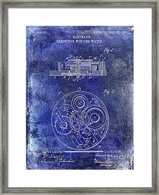 1908 Pocket Watch Patent Blue Framed Print