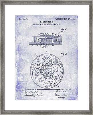1908 Pocket Watch Patent Blueprint Framed Print