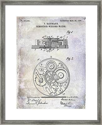 1908 Pocket Watch Patent  Framed Print