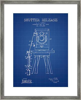 1908 Shutter Release Patent - Blueprint Framed Print by Aged Pixel