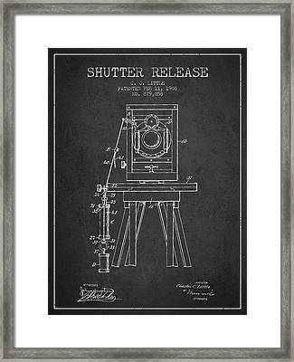 1908 Shutter Release Patent - Charcoal Framed Print