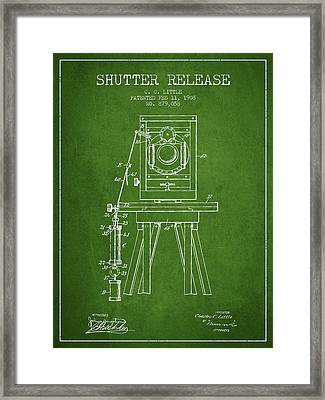 1908 Shutter Release Patent - Green Framed Print by Aged Pixel