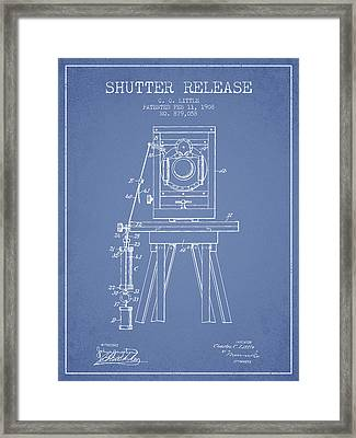 1908 Shutter Release Patent - Light Blue Framed Print