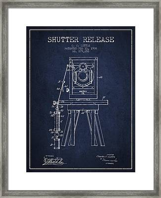 1908 Shutter Release Patent - Navy Blue Framed Print by Aged Pixel