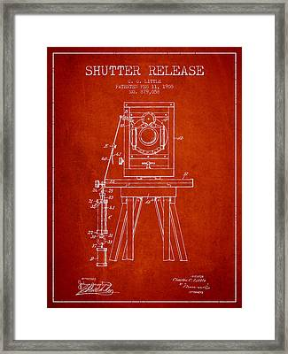 1908 Shutter Release Patent - Red Framed Print by Aged Pixel