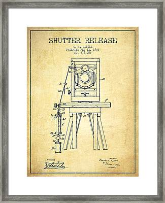1908 Shutter Release Patent - Vintage Framed Print by Aged Pixel