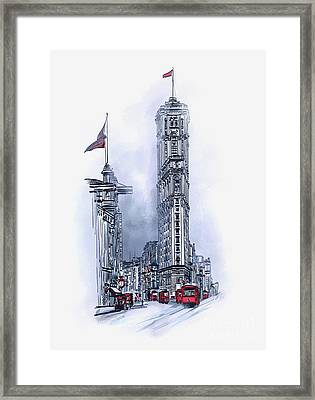 Framed Print featuring the painting 1908 Times Square,ny by Andrzej Szczerski
