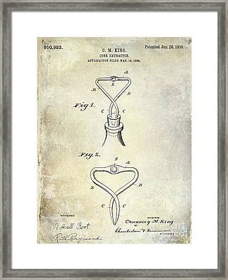1909 Cork Extractor Patent Framed Print