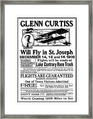 1909 Glenn Curtiss Air Show Flyer Framed Print