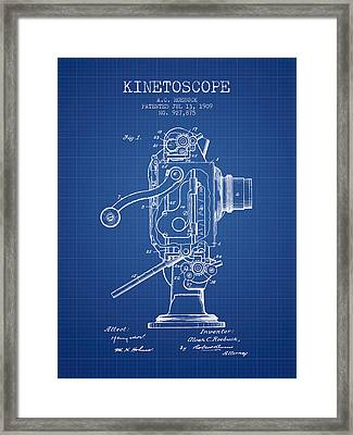 1909 Kinetoscope Patent - Blueprint Framed Print by Aged Pixel