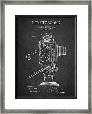 1909 Kinetoscope Patent - Charcoal Framed Print by Aged Pixel
