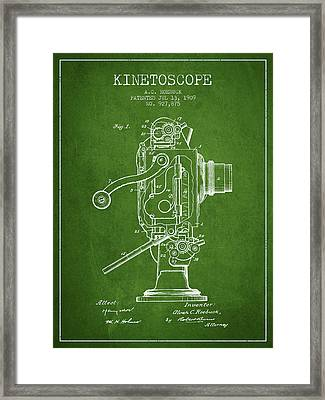 1909 Kinetoscope Patent - Green Framed Print by Aged Pixel