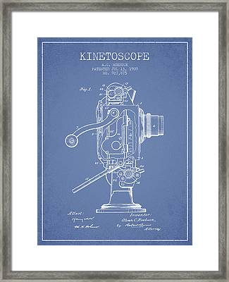 1909 Kinetoscope Patent - Light Blue Framed Print by Aged Pixel