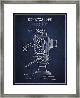 1909 Kinetoscope Patent - Navy Blue Framed Print by Aged Pixel