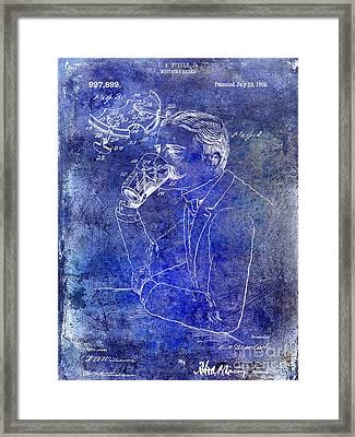 1909 Mustache Guard Patent Blue Framed Print by Jon Neidert