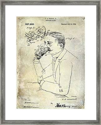 1909 Mustache Guard Patent Framed Print by Jon Neidert