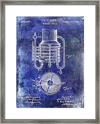 1909 Whiskey Still Patent Blue Framed Print by Jon Neidert