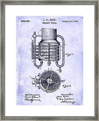 1909 Whiskey Still Patent Blueprint Framed Print by Jon Neidert