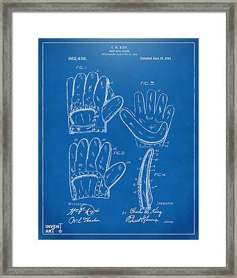 1910 Baseball Glove Patent Artwork Blueprint Framed Print by Nikki Marie Smith
