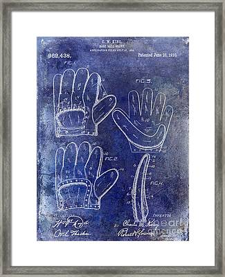 1910 Baseball Glove Patent Blue Framed Print by Jon Neidert