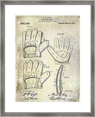 1910 Baseball Glove Patent  Framed Print by Jon Neidert