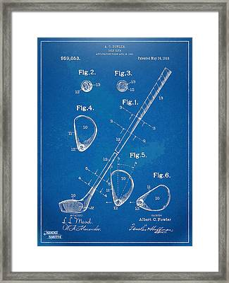 1910 Golf Club Patent Artwork Framed Print by Nikki Marie Smith