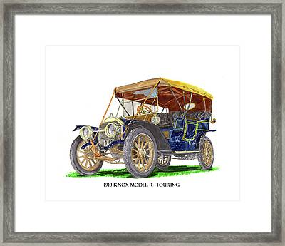 Framed Print featuring the painting 1910 Knox Model R 5 Passenger  Touring Automobile by Jack Pumphrey
