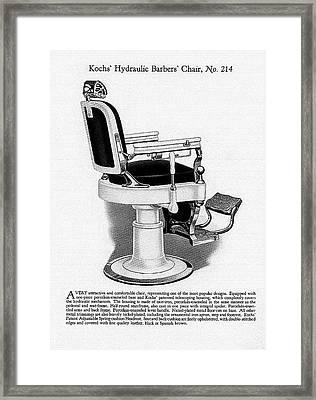 1910 Kochs' Hydraulic Barbers' Chair, No. 214 Framed Print by Jovemini ART
