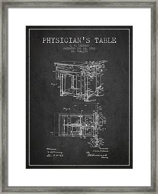 1910 Physicians Table Patent - Charcoal Framed Print by Aged Pixel