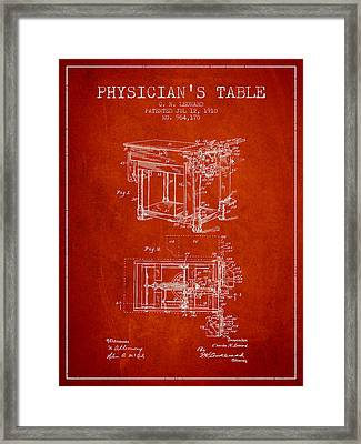 1910 Physicians Table Patent - Red Framed Print by Aged Pixel