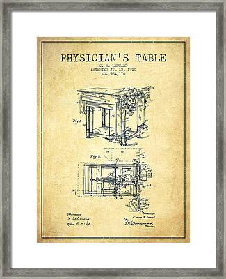 1910 Physicians Table Patent - Vintage Framed Print by Aged Pixel